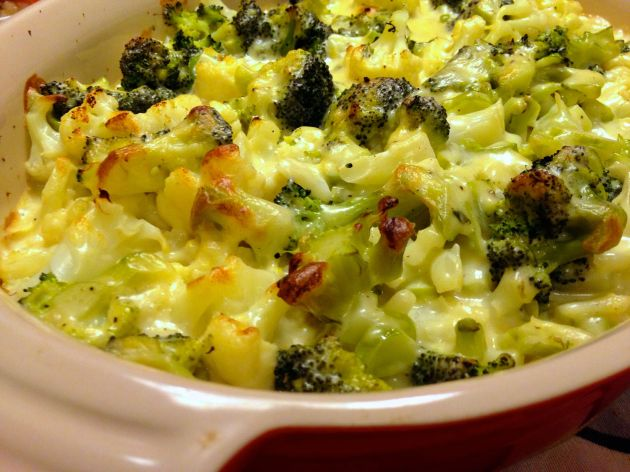 blomkåls- och broccoligratäng